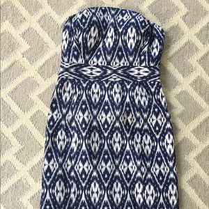 Banana Republic strapless dress blue ikat print